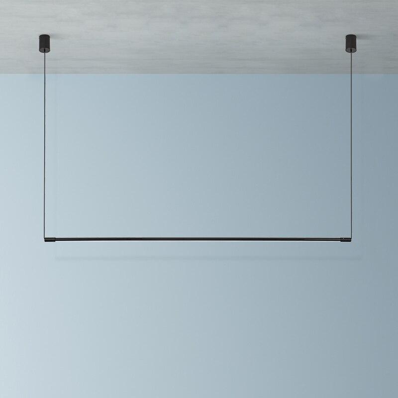 Modern LED Long Tube Lamp Pendant Lights Dimmable Black Pendant Lamp Kitchen Hanging Lamps Dining Room Bar Hanglamp Luminaria