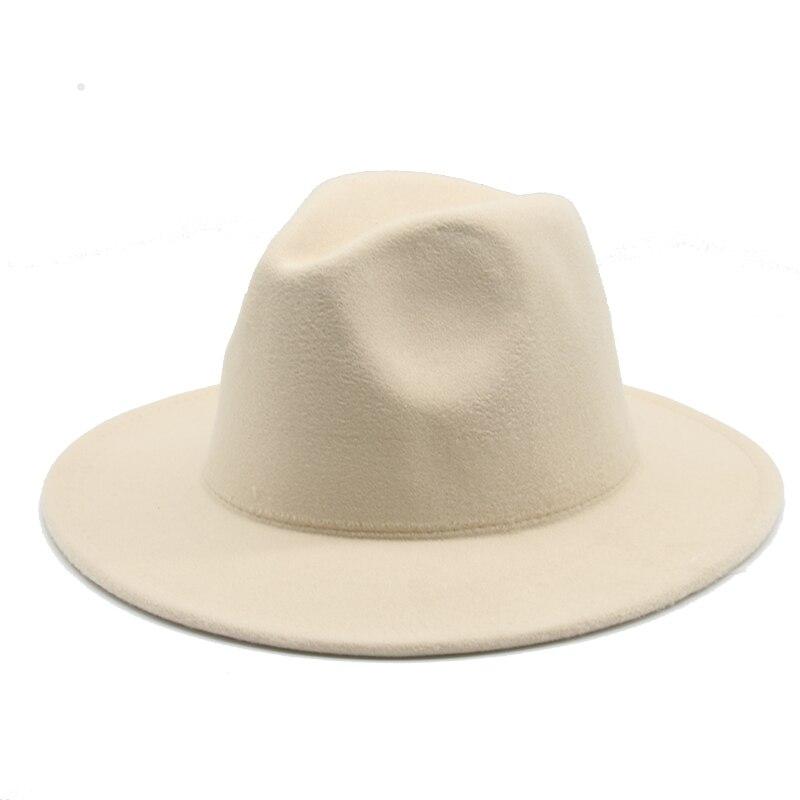 fedoras women's hat big brim autumn solid formal dress wedding woman hat camel black white fedora felted classic cap winter hats