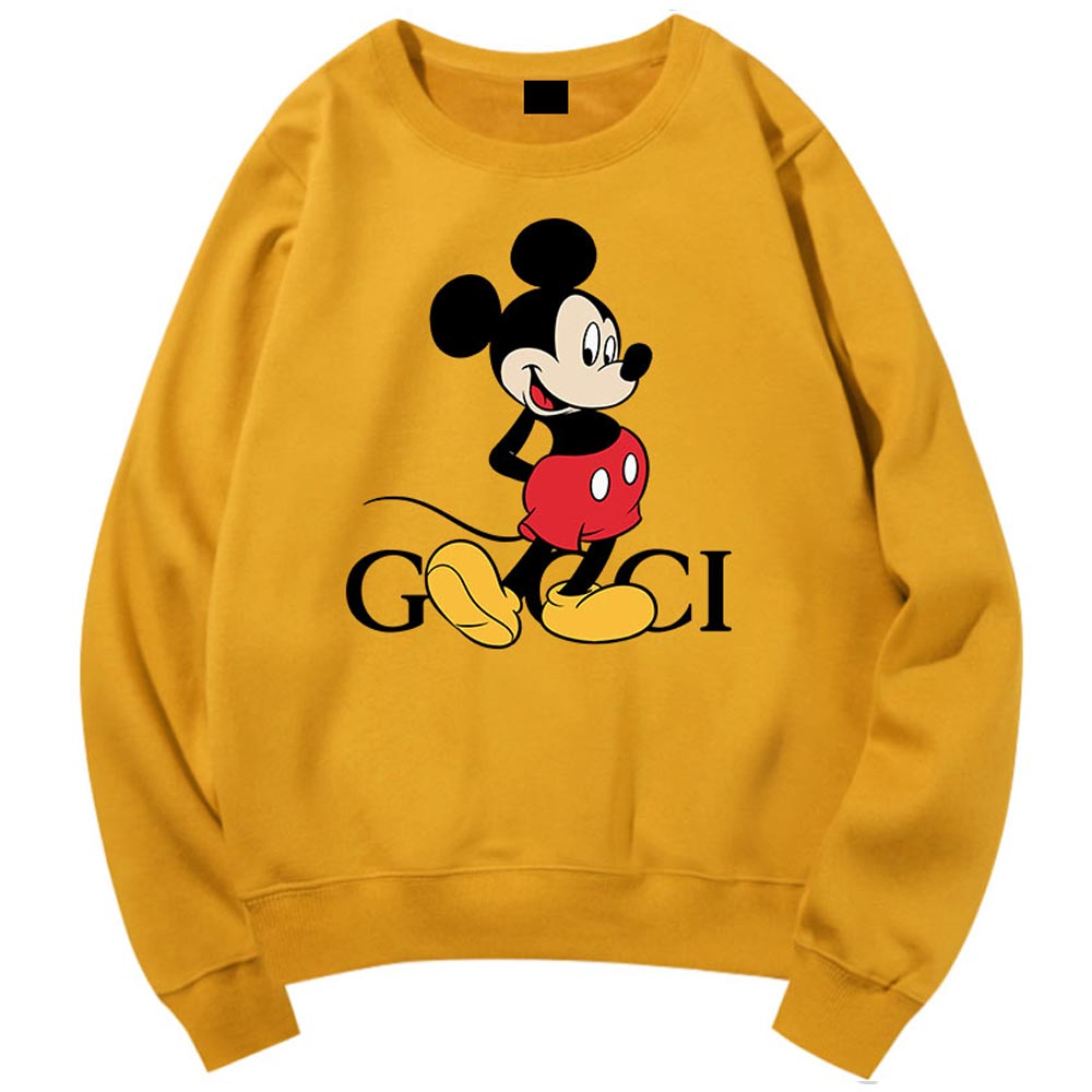 Harajuku Casual Sweatshirt Chic Fashion Mickey Mouse Cartoon Letter Print O-neck Pullover Couples Unisex Women Long Sleeve Tops