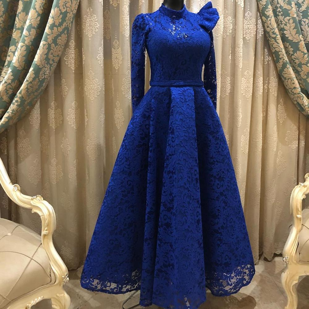2019 Cocktail Dresses Sexy Dubai Arabic Long Sleeve Evening Formal Dress Gowns Royal Blue Lace Short African Prom Dresses