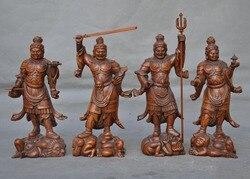 Свадебные украшения, китайский самшит, резьба по дереву, четыре великие Небесные короли, бесмерные, Бог, статуя, набор