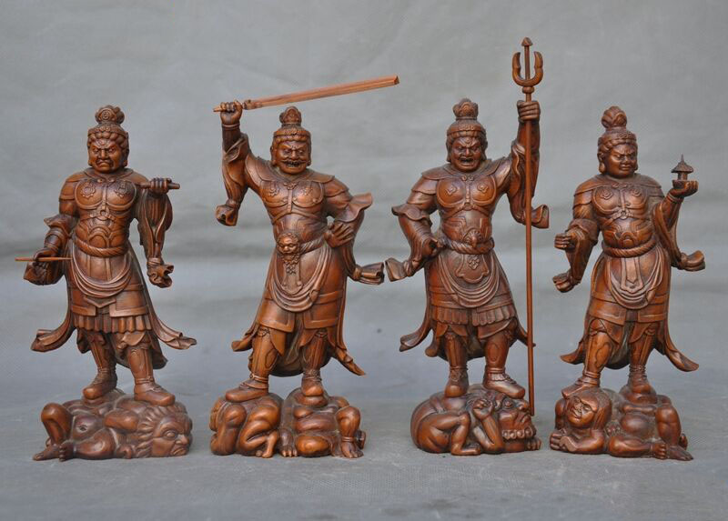 Wedding Decoration Chinese Boxwood Wood Carving Four Great Heavenly Kings Immortals God Statue Set