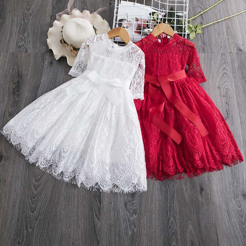 Princess Girl Dress Clothes For Kids Party Wear Meninas Vestidos Lace Hallow Design Girl Party Dresses Children Causal Clothing 1