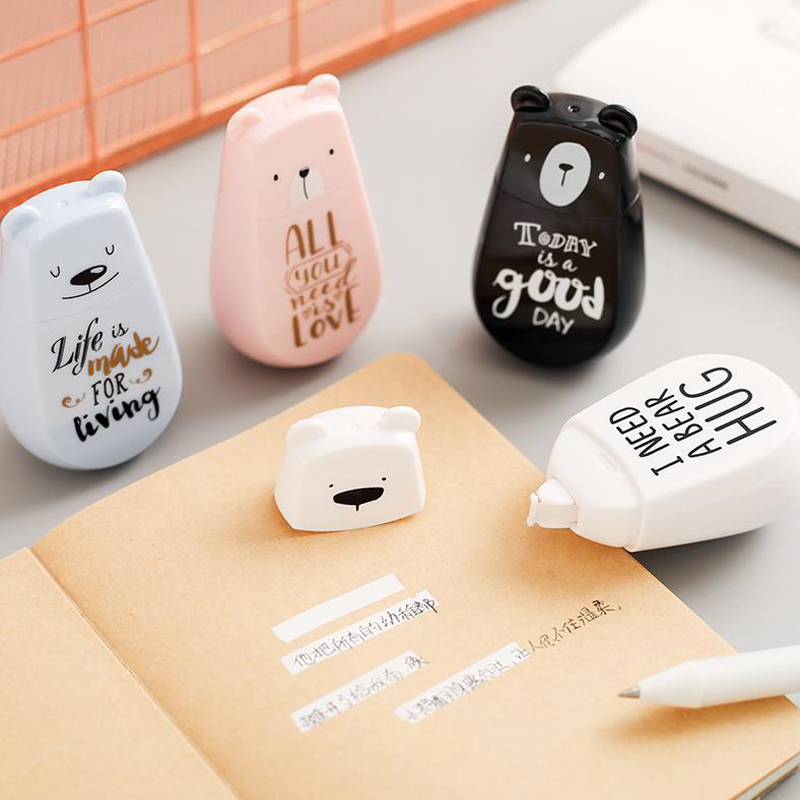 1 Pcs Cartoon 5mm*6m Colorful Bears Modelling Plastic Correction Tapes Corrector Tools Office School Students Stationery Gift