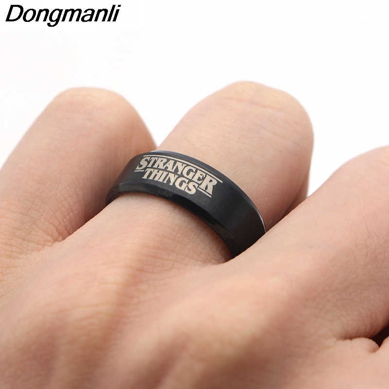 F130 2018 Hot TV Show Stranger Things Ring Silver Fashion Ring Jewelry Black Color Men's Ring Man's Gifts New Style Gifts