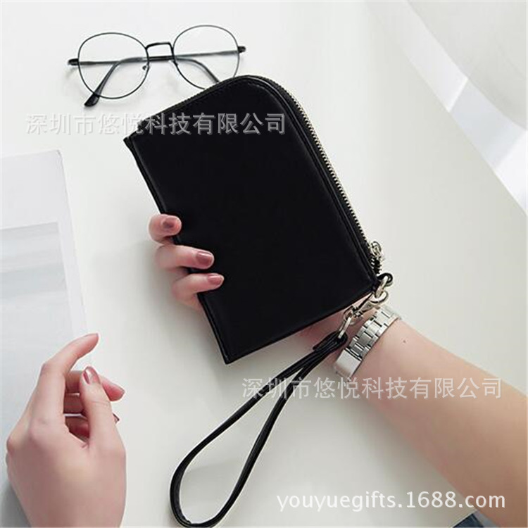 Metal Zipper Flat Bag Coin Pocket PU Leather Small Clutch Bag Leather Card Bag Wallet