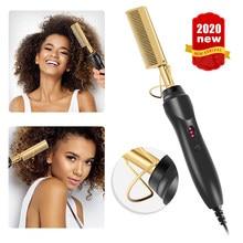 Multifuncional alisador de cabelo plana ferros molhado seco dupla utilização escova pente aquecimento elétrico cabelo em linha reta styler curling cabelo pente