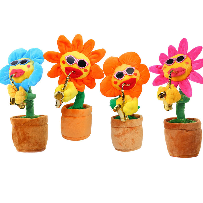 Funny Electric Toy 60 Songs Singing and Dancing Flower with Saxophone Plush Toys