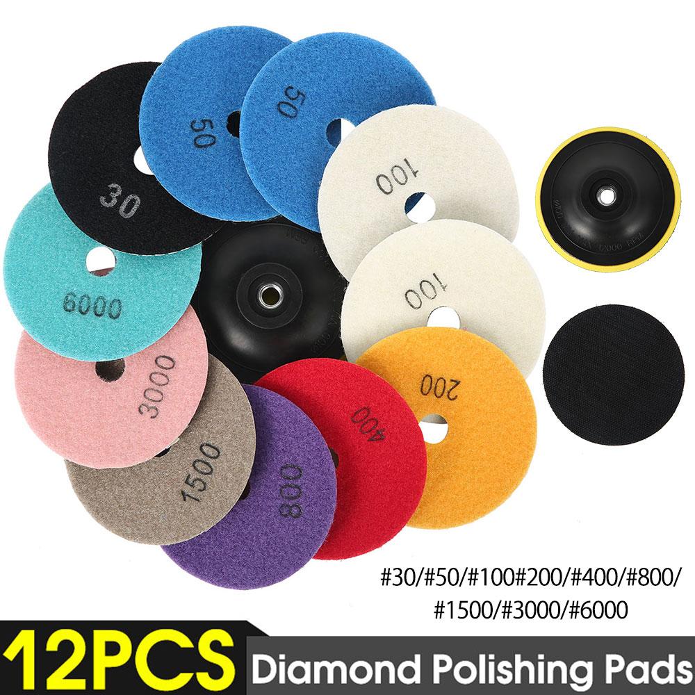 12pcs/Set 4'/100mm Abrasive Tools Wet Dry Diamond Polishing Pads Sanding Disc Grinder For Granite Stone Concrete Marble Polisher