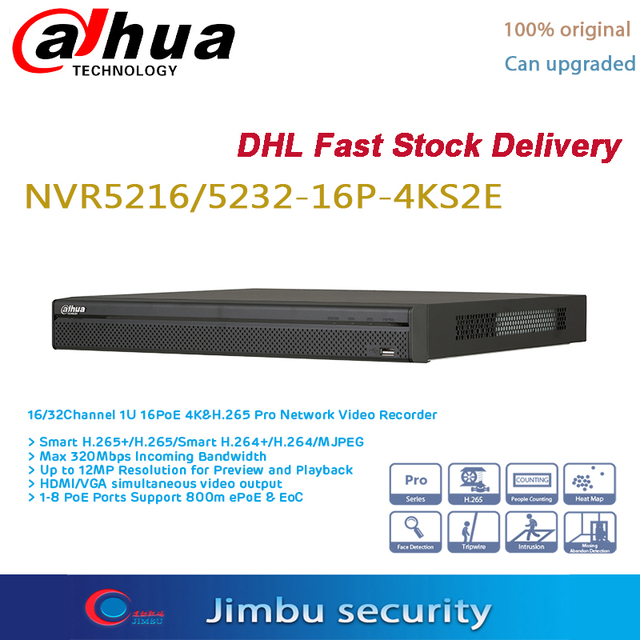 Dahua POE NVR 16CH 16 PoE port NVR5216 16P 4KS2E & 32CH NVR5232 16P 4KS2E 4K video recorder H.265 Pro NVRUp zu 12Mp auflösung