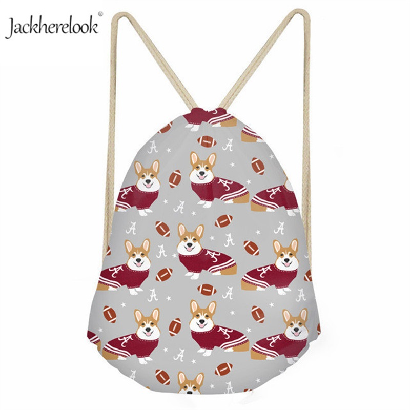 Jackherelook Dressed Corgi Printed Drawstring Sack British Royal Pet Dog Gym Bags Cartoon Animal Storage Backpack For Women Girl