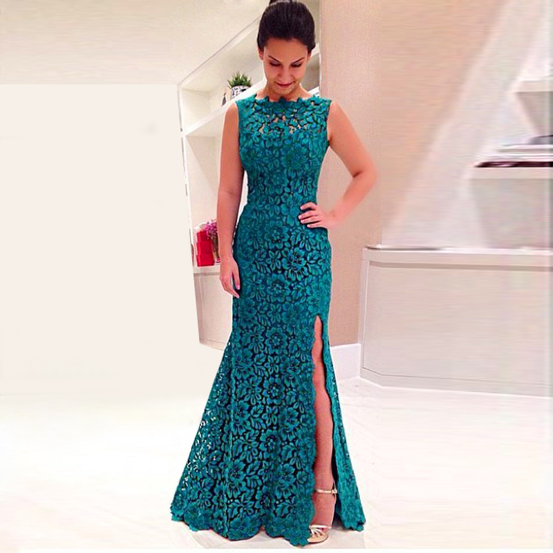 Abendkleider Long Lace Gown Teal For Wedding Party Prom Banquet Plus Size Custom Made Maxi Women Formal Bridesmaid Dresses