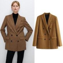 QNPQYX New Women Elegant Long Sleeve Double Breasted Blazer