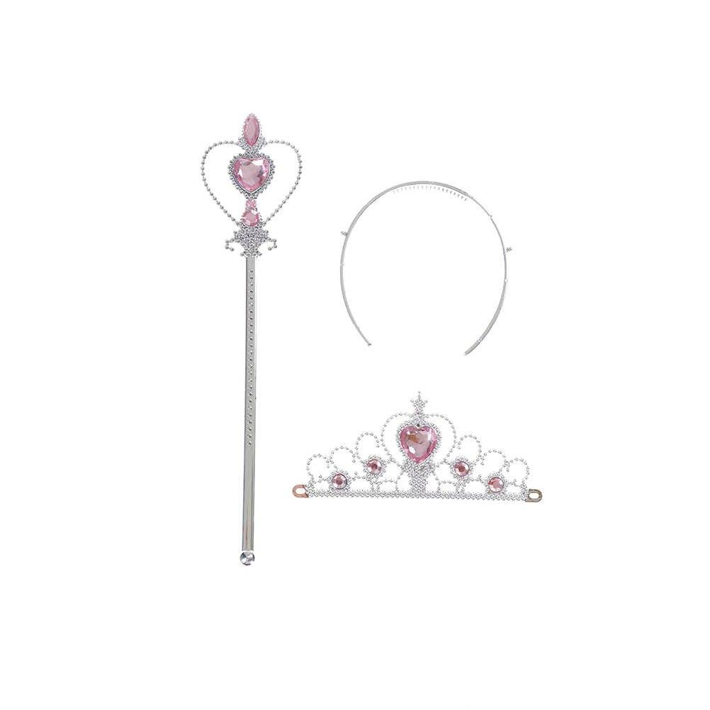 3 parça/takım tatlı prenses Tiara Elsa çocuk kafa taç kız sihirli Stickwands parti hediye saç takı Cosplay aksesuarları