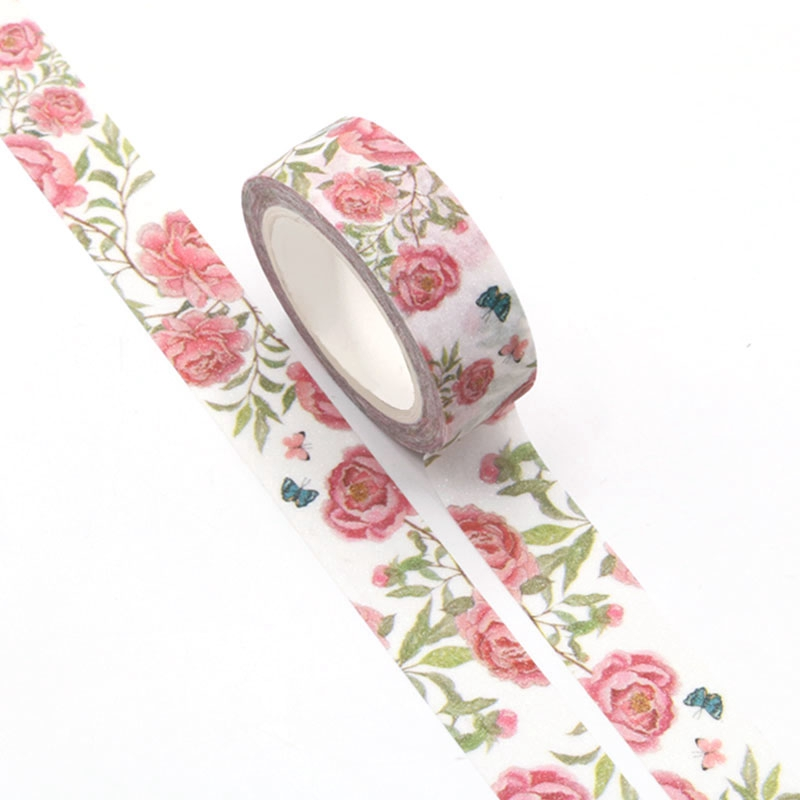1pc Decorative Flower Leaves Butterfly Valentine Washi Tape Cute Scrapbooking Tools Masking Tape Diy Photo Album Stationery Tape
