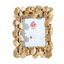 Cadre Photo en forme de feuille de Ginkgo, 5/6 pouces, créatif, carré, pendentif, résine peinte, doré, pour Table et bureau, affichage