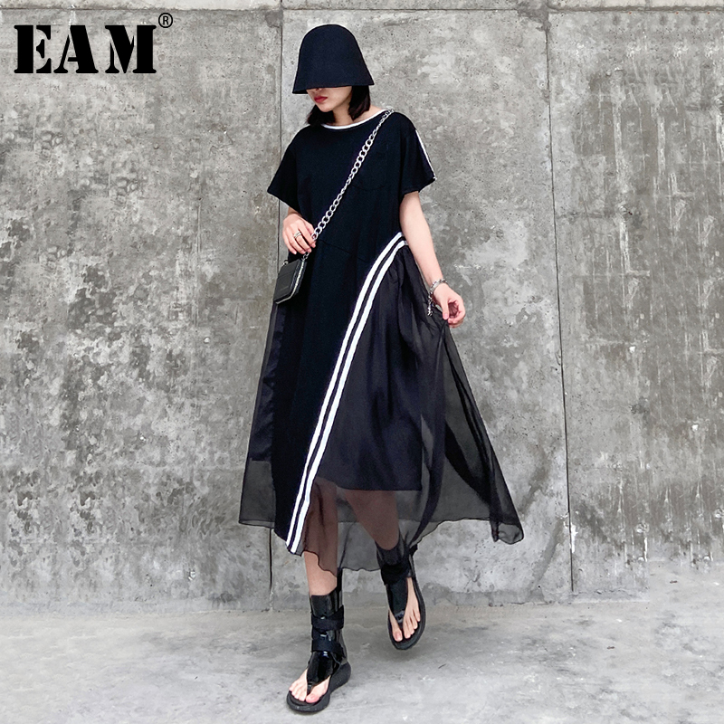 [EAM] Women Black Mesh Striped Irregular Big Size Dress New Round Neck Short Sleeve Loose Fit Fashion Spring Summer 2020 1T776
