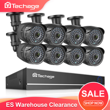 Techage sistema de vigilância externa, câmera de vigilância externa 8ch 1080p hdmi ahd dvr cctv, 2mp, hd, ir, visão noturna conjunto de 2tb hdd