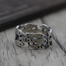 Thai Silver Personality Hollow Small Fish Men And Women Ring S925 Sterling Silver Jewelry Ring Ancient Style(China)