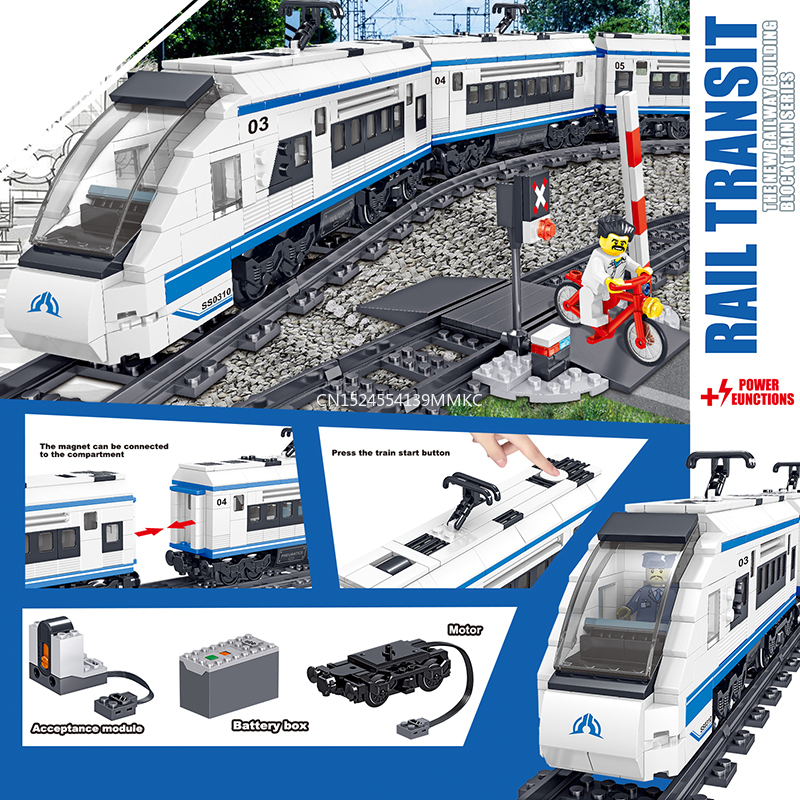 941pcs Technic Battery Powered Electric  City Train Harmony high-speed Rail Building Blocks Brick Gift Toy for Children