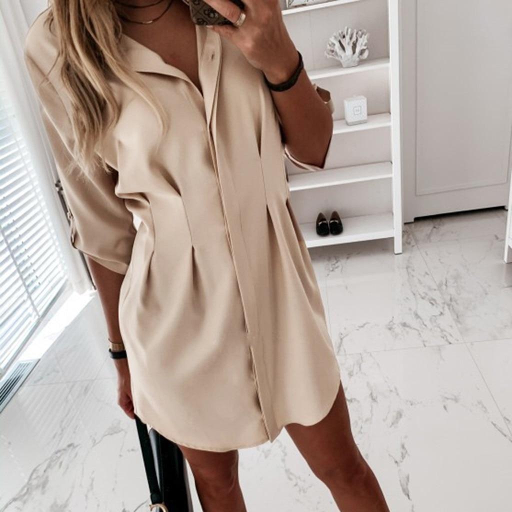 Лидер продаж, платье для женщин, Осеннее мини-платье с длинным рукавом, женские повседневные рабочие простые рубашки, высококачественная од...