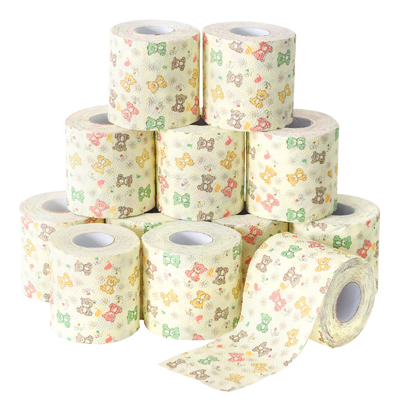 Bear Roll Paper Printing Paper Towel Cute Cartoon Core Roll Bath Toilet Roll Paper 3 Ply Tissue Roll Household Toilet Paper