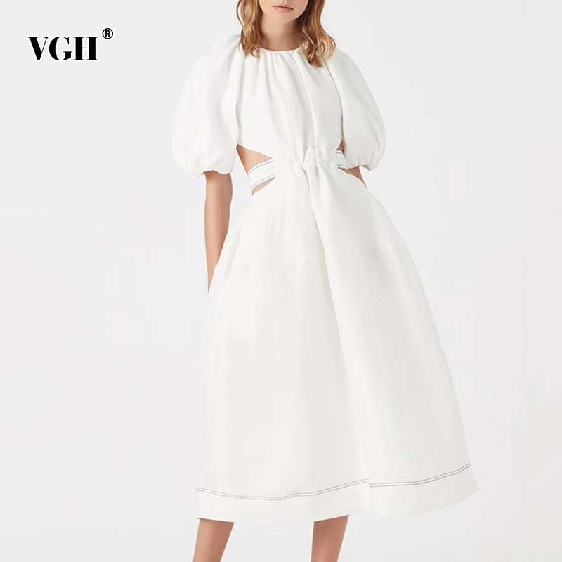 VGH Elegant Summer Dress Women O Neck Lantern Half Sleeve High Waist Hollow Out Urched Vintage Midi Dresses Female Fashion Tide
