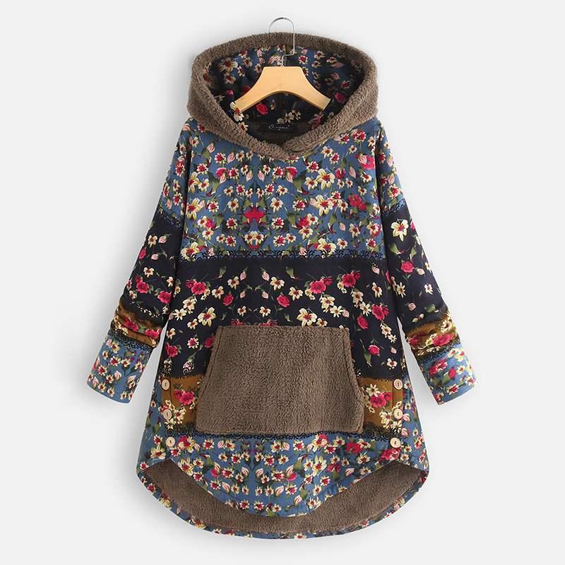 2020 plus size zanzea inverno velo moletom feminino casual com capuz manga comprida boêmio impresso pacthwork pulôver casacos outwear