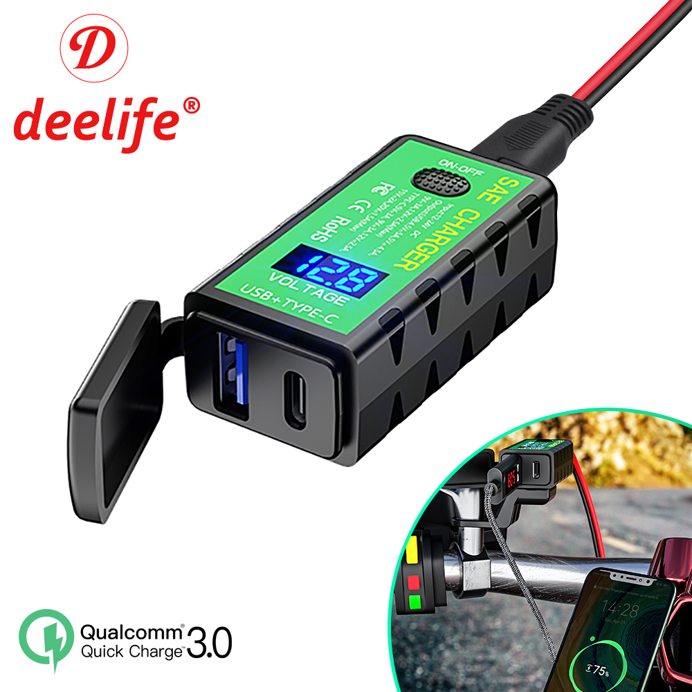 Deelife USB Motorcycle Charger Power Adapter Voltmeter 12V Sae Connector Type C for Phone Charging Motorbike Accessories