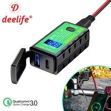 Deelife Usb Motorcycle Charger Power Adapter Voltmeter 12V Sae Connector Type C Voor Telefoon Opladen Motor Accessoires