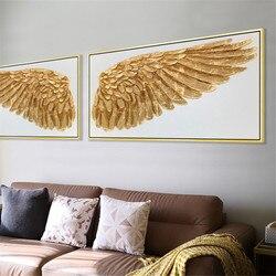 Anjo Asas de Folha de Ouro Pintura Da Lona Arte Da Parede Moderna Casa Decoração Pintura A Óleo Imagem para Sala de estar