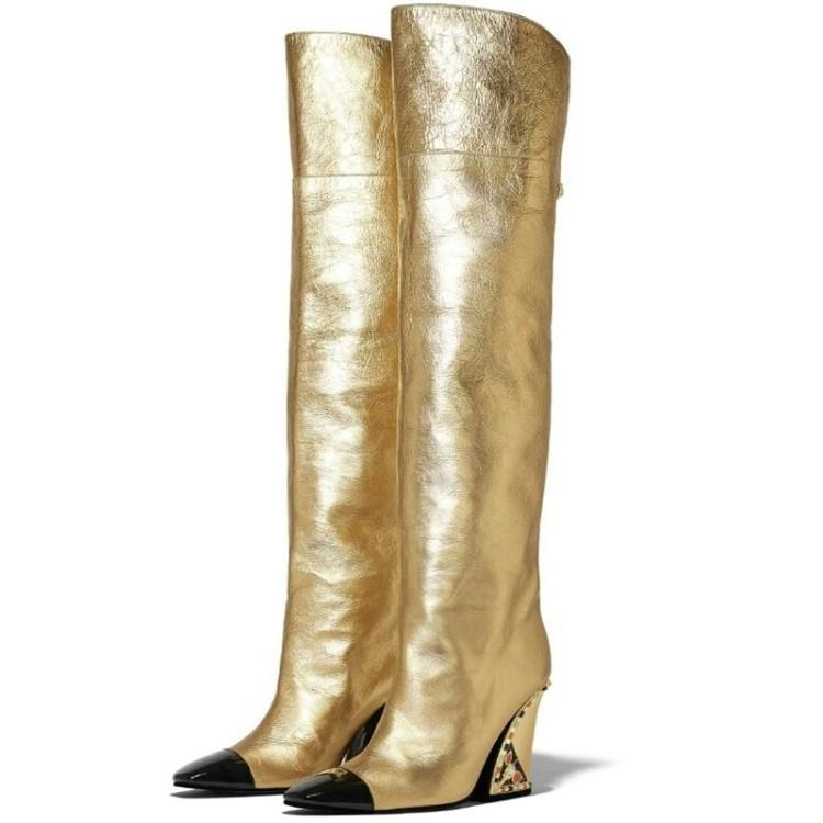 Womens Wedge Boots Lady Gold High Tall
