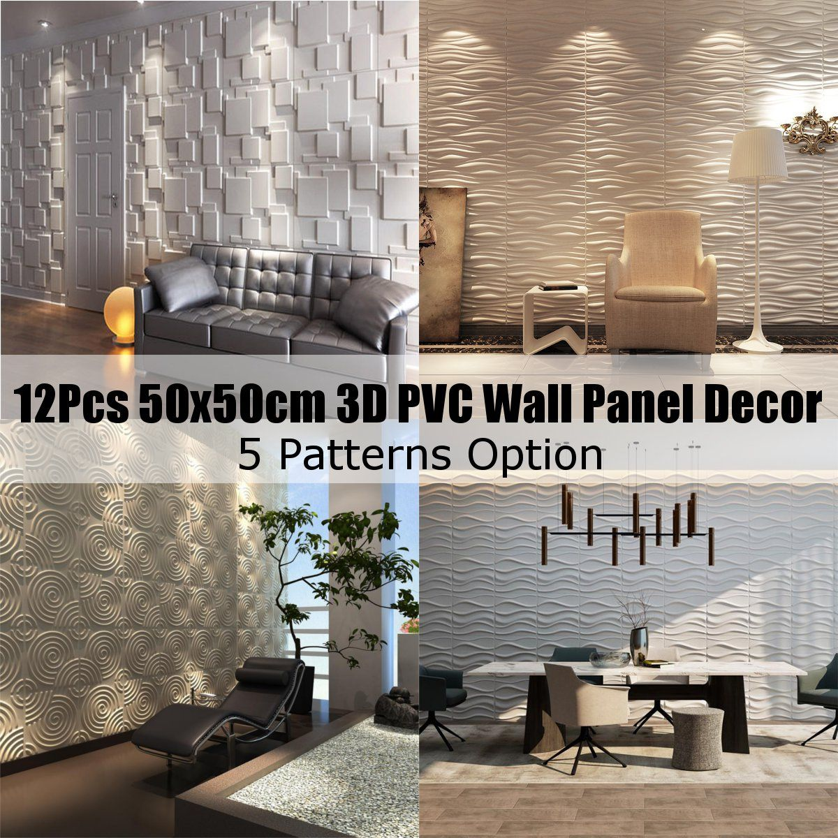 12PCS 3D PVC Wall Panel Flame Retardant Waterproof Wallpaper Living Room Decal Home Decor 50x50cm Embossed Wallpapers Stickers image