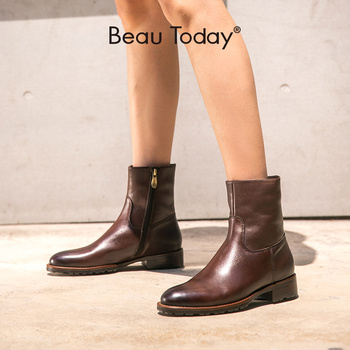 BeauToday Ankle Boots Women Genuine Cow Leather Side Zipper Closure Round Toe Lady Fashion Boots Winter Shoes Handmade 02017 beautoday fashion ankle boots women calfskin leather round toe front zipper closure autumn winter lady shoes handmade 03808