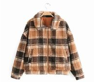 HCBLESS 2019 autumn and winter new women Coffee color plaid lamb hair zipper loose short jacket women's jacket