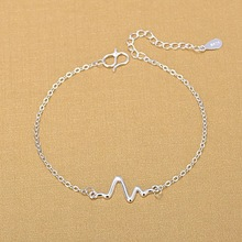 925 Sterling Silver Bracelets 925 Fashion ECG Charm Bracelets Fine Fashion Bracelet Jewelry For Woman Gift cheap FYLA MODE Third Party Appraisal Women NONE Chain Link Bracelets 5 5cm TRENDY Heart Silver 925 Jewelry 925 Silver 18cm for ref