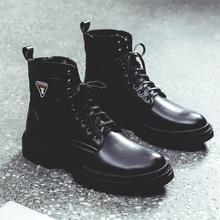 Высококачественные мужские роскошные модные мотоботы в стиле панк; черные ботинки из натуральной кожи; сезон весна-осень; мужские Ботильоны; botas masculina