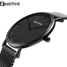 UltraบางนาฬิกาQUARTZ Mens Casualสีดำญี่ปุ่นควอตซ์นาฬิกาสแตนเลสไม้FaceนาฬิกาชายRelogio Masculinoใหม่