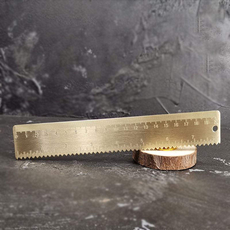 20cm Brass Wave Straight Ruler Bookmark Cartography Painting Measuring School