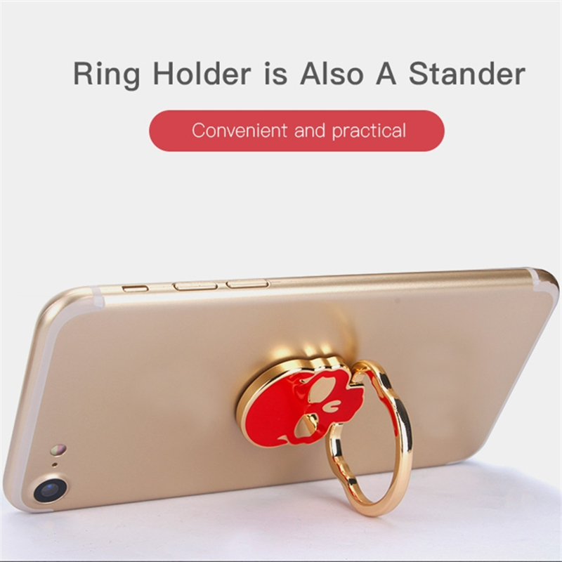 Ossky Skull Shape Finger Ring Phone Holder For Phone Magnetic 360 Degree Rotation Phone Ring Holder Stand Accessories