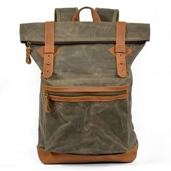 Men Canvas Backpack Vintage Satchel Travel Rucksack Large Capacity Portable School Laptop Bag Waterproof Daypack  Dropshipping