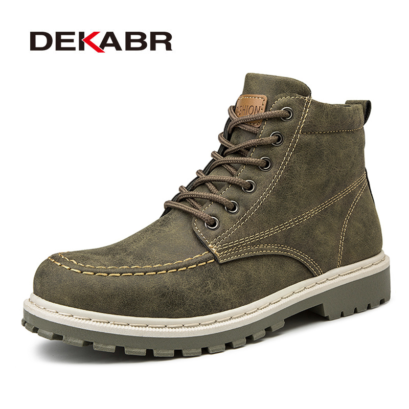 DEKABR New Boots Men Winter Leather Snow Boots Men Working Ankle Boots Warm Lace Up High Top Shoes Shoes Men Safety Shoes