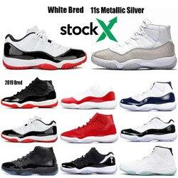Stock, X Bred 2020 withe bred 11, Concord plateado metálico 23 45, gorra y vestido Gamma Blue Win como zapatillas de baloncesto 82 96