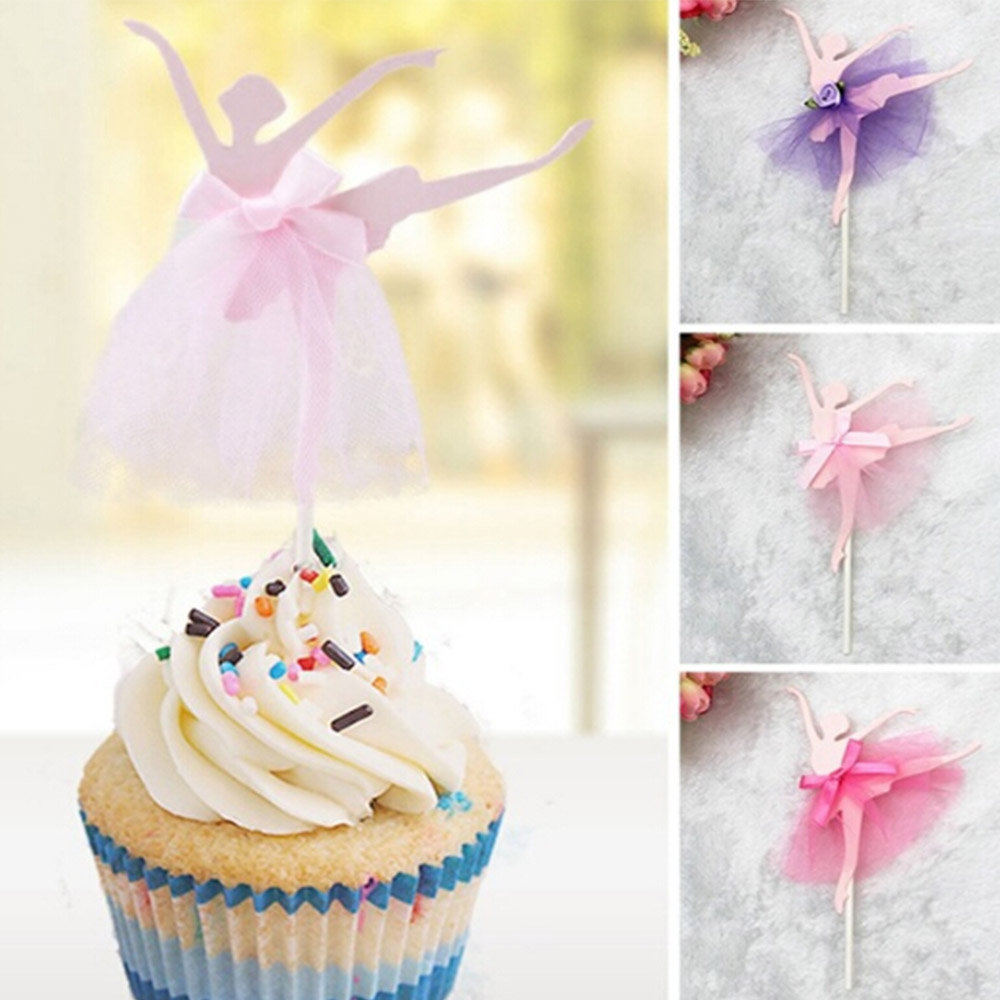 5Pcs/set Ballet Girl Dress Birthday Cake Topper Cupcake Decoration Baby Shower Kids Birthday Party Wedding Cake Decor Supplies