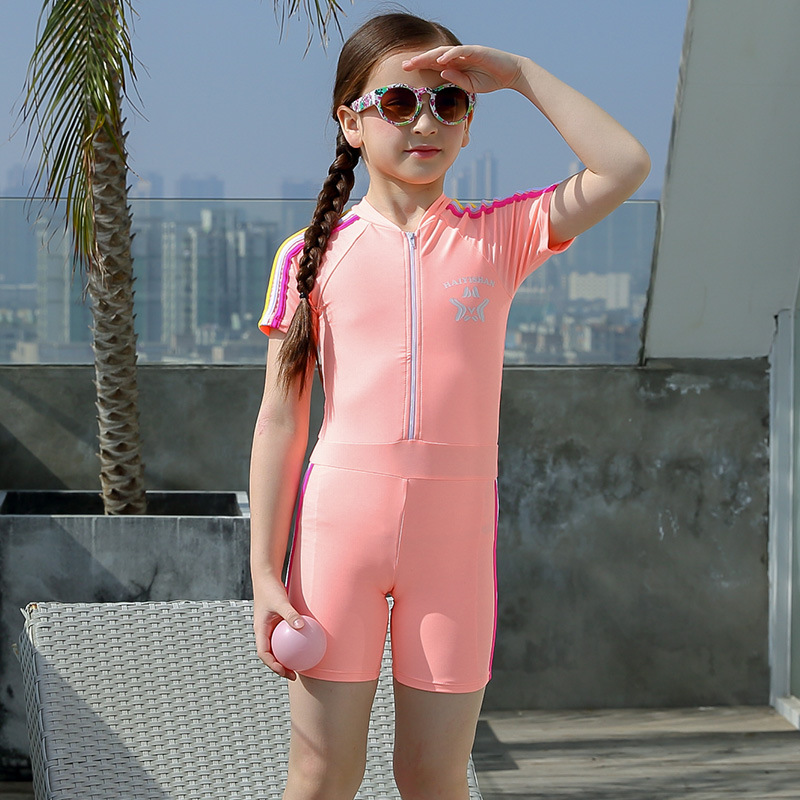New Style KID'S Swimwear GIRL'S One-piece Short Sleeve Tour Bathing Suit Girls Big Boy Baby Conservative Boxer Sports Swimwear