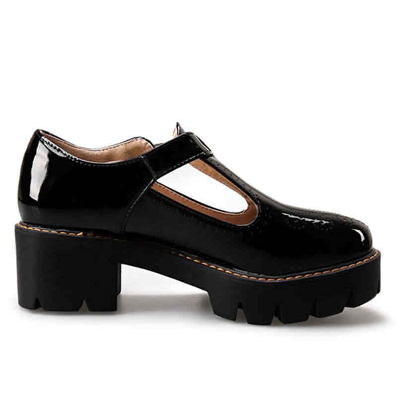Odetina ผู้หญิงแฟชั่นลื่นบล็อกหนาส้นสูง Brogue รองเท้า T-tied รอบ Toe BUCKLE เย็บแพลตฟอร์มใหม่รองเท้าลำลอง