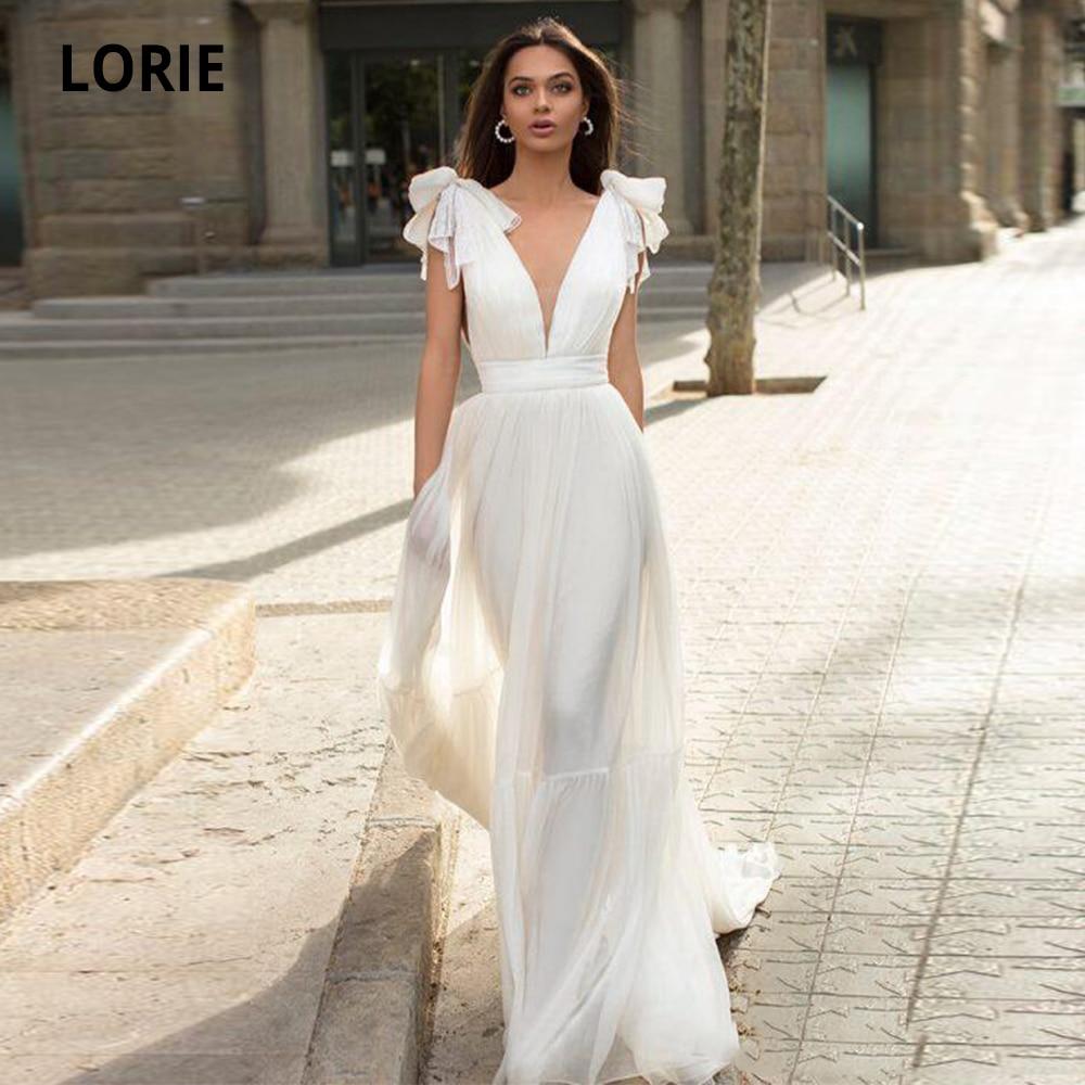 LORIE A-line Chiffon Wedding Dresses Boho 2020 Sleeveless Beach Bridal Gowns V-neck Open Back Princess Wedding Party Gowns