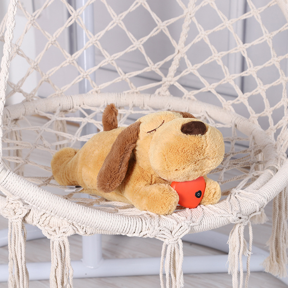 צעצועים לכלבים וגורים | בובת כלב עם פעימות לב ווקאלי