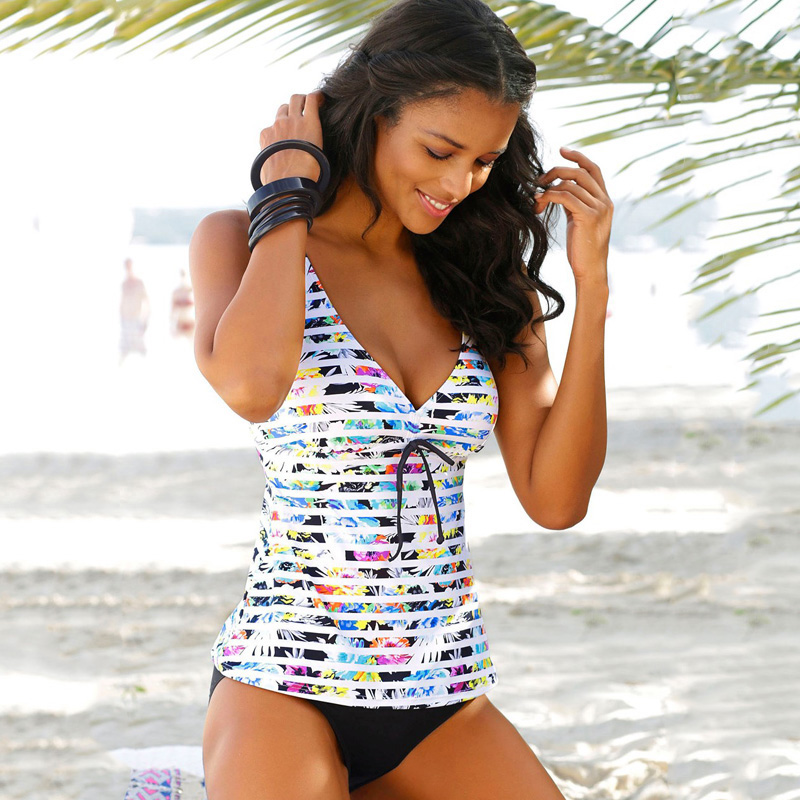 Mulheres Swimwear <font><b>2018</b></font> <font><b>Swimsuit</b></font> Push Up Set <font><b>Tankini</b></font> Retro Vintage Bikini Bandage Fatos de Banho Beach Wear <font><b>Plus</b></font> <font><b>Size</b></font> Swimwear S-3XL image
