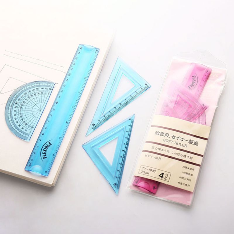 4pcs/set Soft Flexible Drawing Measurement Geometry Protractor Triangular Ruler Straightedge Student Stationery LX9A